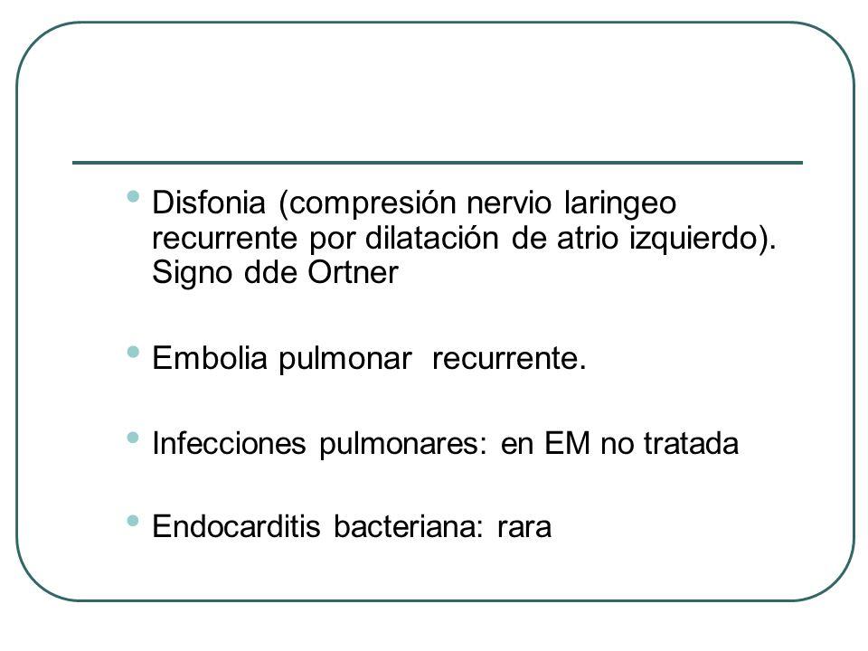 Disfonia (compresión nervio laringeo recurrente por dilatación de atrio izquierdo). Signo dde Ortner Embolia pulmonar recurrente. Infecciones pulmonar