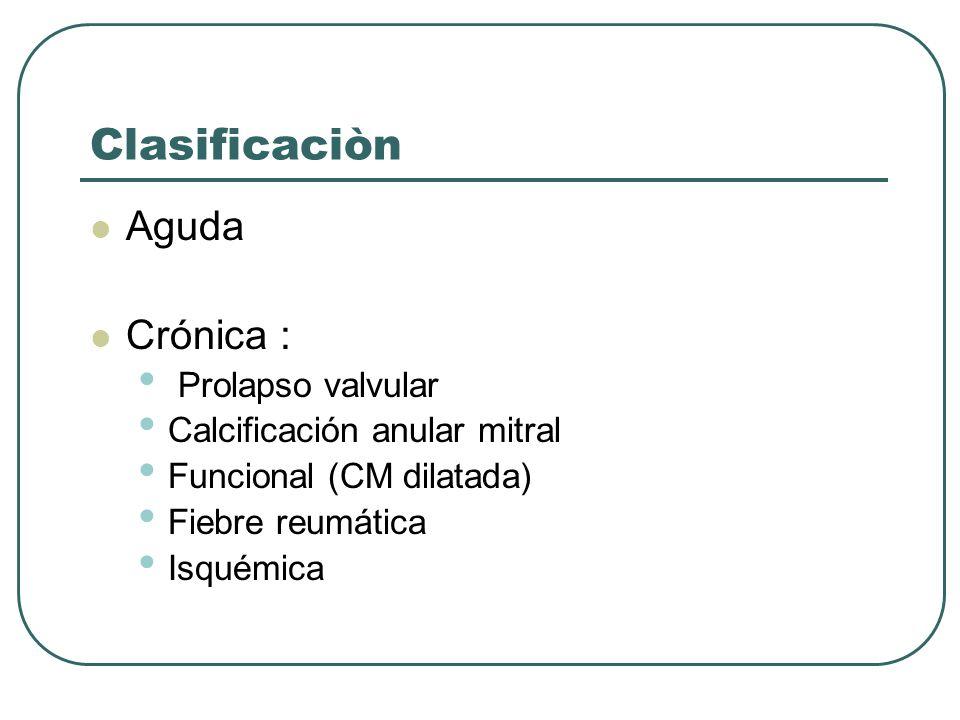 Clasificaciòn Aguda Crónica : Prolapso valvular Calcificación anular mitral Funcional (CM dilatada) Fiebre reumática Isquémica