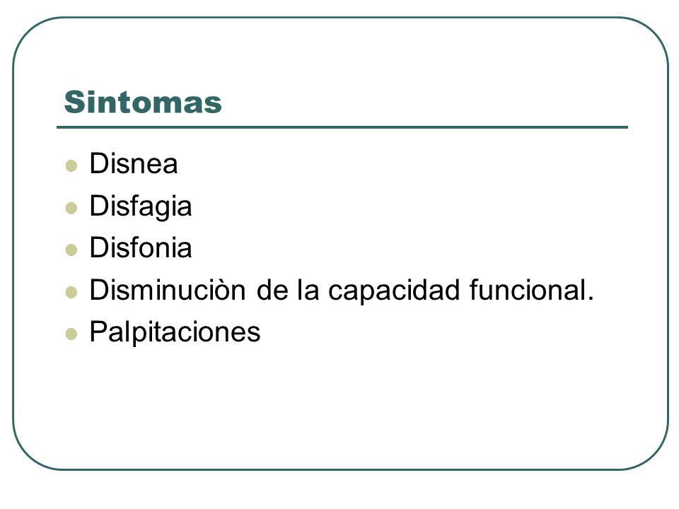 Sintomas Disnea Disfagia Disfonia Disminuciòn de la capacidad funcional. Palpitaciones