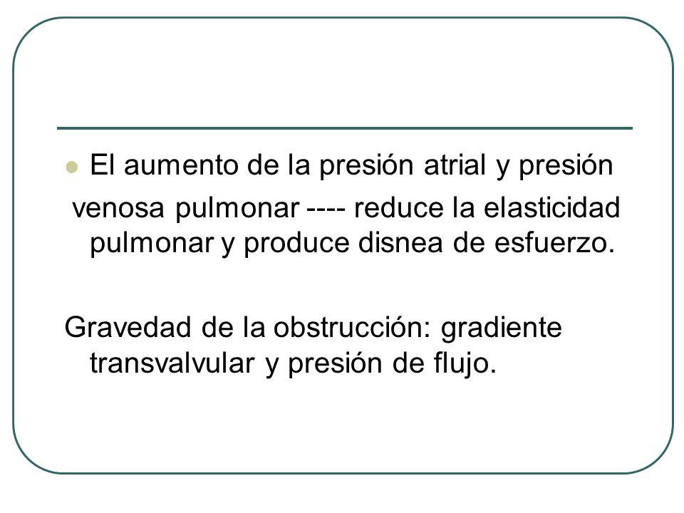 El aumento de la presión atrial y presión venosa pulmonar ---- reduce la elasticidad pulmonar y produce disnea de esfuerzo. Gravedad de la obstrucción