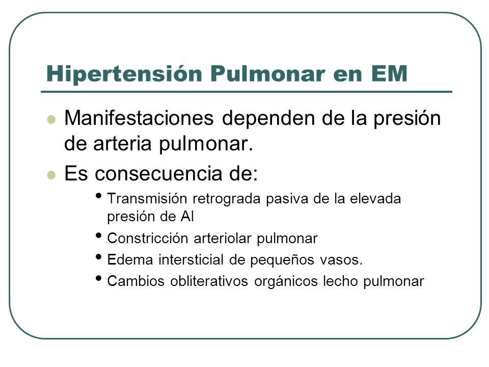 Hipertensión Pulmonar en EM Manifestaciones dependen de la presión de arteria pulmonar. Es consecuencia de: Transmisión retrograda pasiva de la elevad