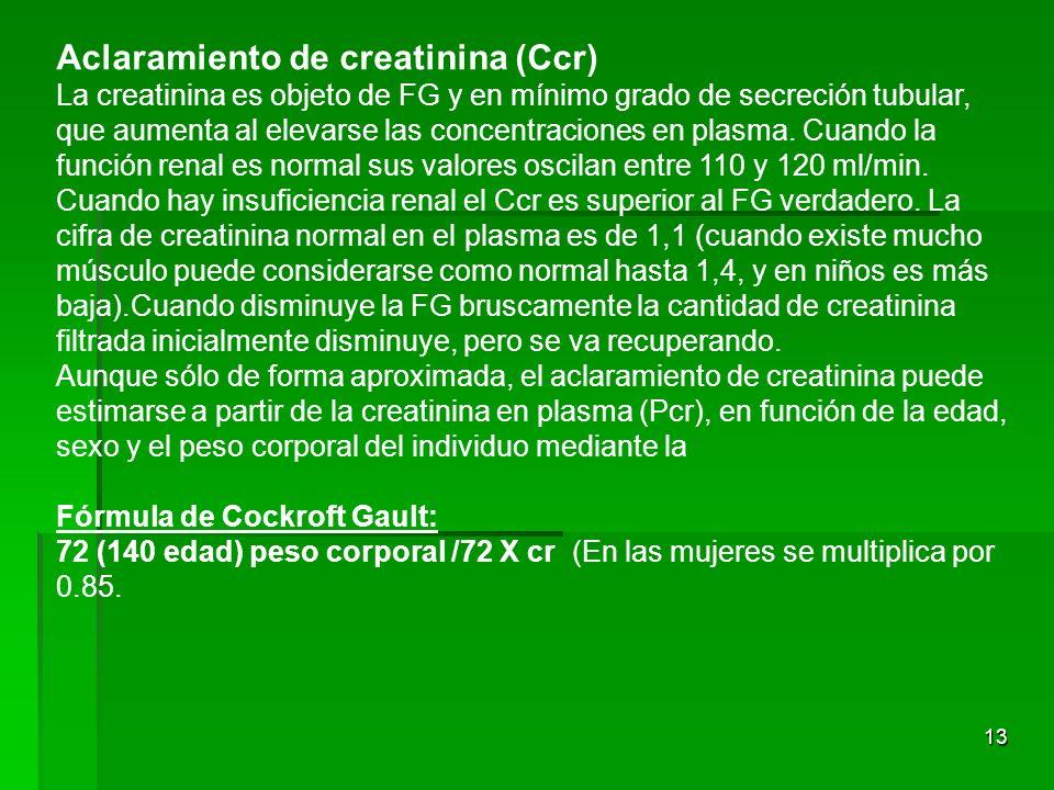 13 Aclaramiento de creatinina (Ccr) La creatinina es objeto de FG y en mínimo grado de secreción tubular, que aumenta al elevarse las concentraciones
