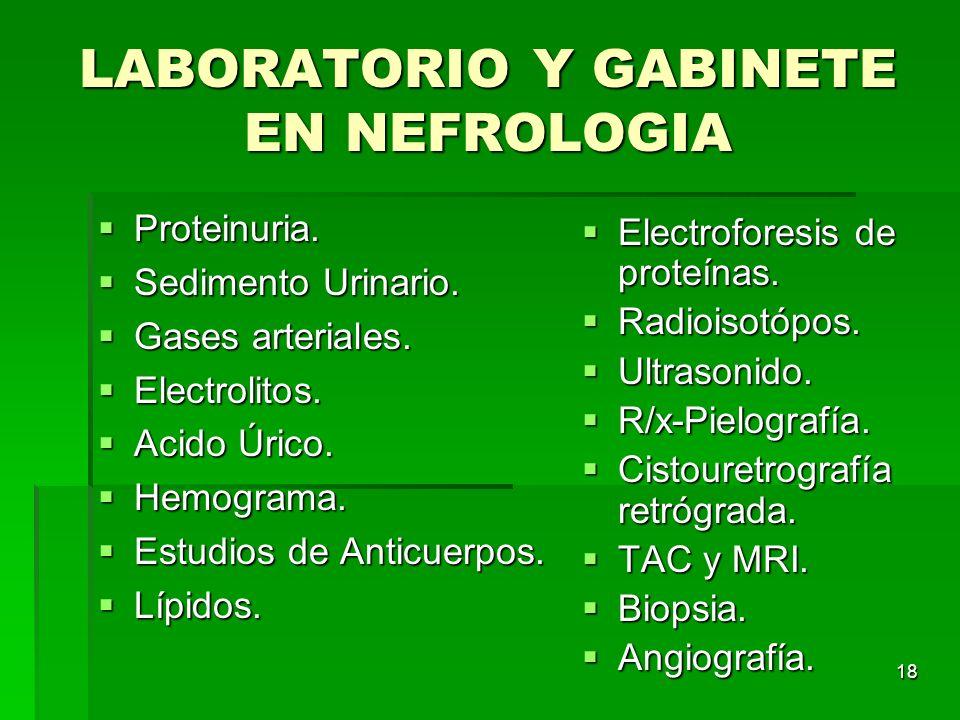 18 LABORATORIO Y GABINETE EN NEFROLOGIA Proteinuria. Proteinuria. Sedimento Urinario. Sedimento Urinario. Gases arteriales. Gases arteriales. Electrol