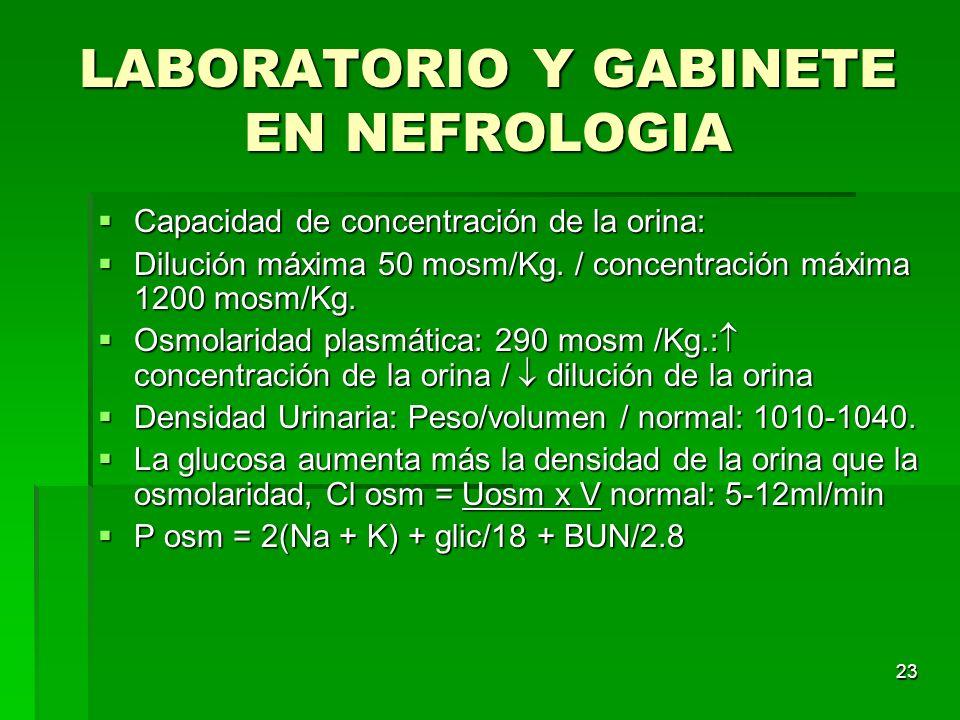 23 LABORATORIO Y GABINETE EN NEFROLOGIA Capacidad de concentración de la orina: Capacidad de concentración de la orina: Dilución máxima 50 mosm/Kg. /