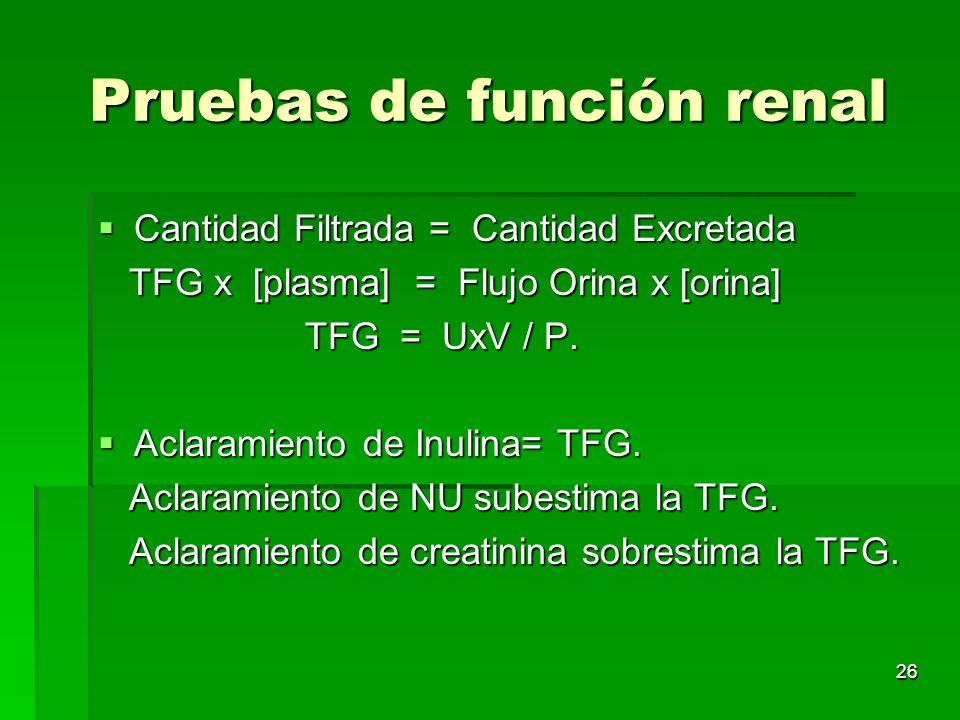 26 Pruebas de función renal Cantidad Filtrada = Cantidad Excretada Cantidad Filtrada = Cantidad Excretada TFG x [plasma] = Flujo Orina x [orina] TFG x