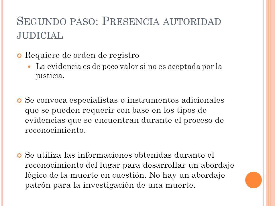 S EGUNDO PASO : P RESENCIA AUTORIDAD JUDICIAL Requiere de orden de registro La evidencia es de poco valor si no es aceptada por la justicia. Se convoc