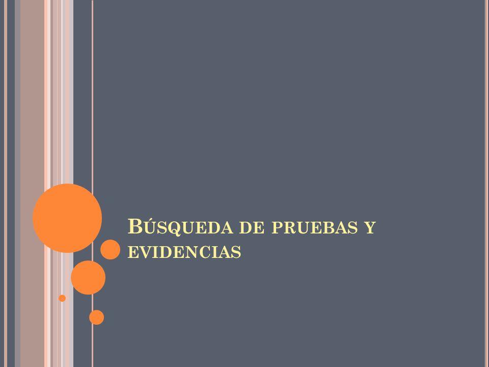 B ÚSQUEDA DE PRUEBAS Y EVIDENCIAS