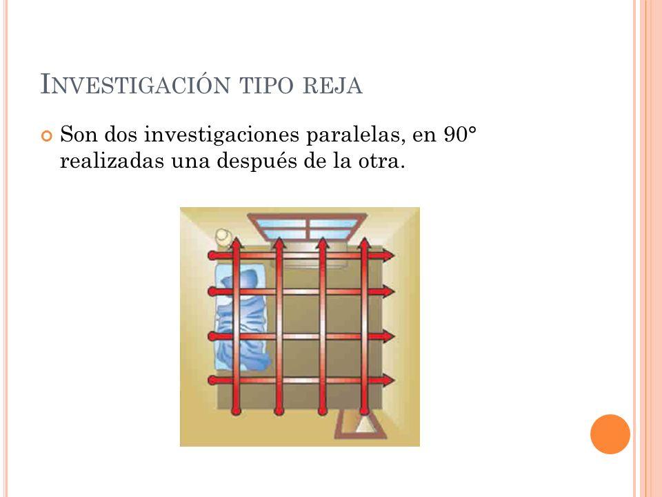 I NVESTIGACIÓN TIPO REJA Son dos investigaciones paralelas, en 90° realizadas una después de la otra.