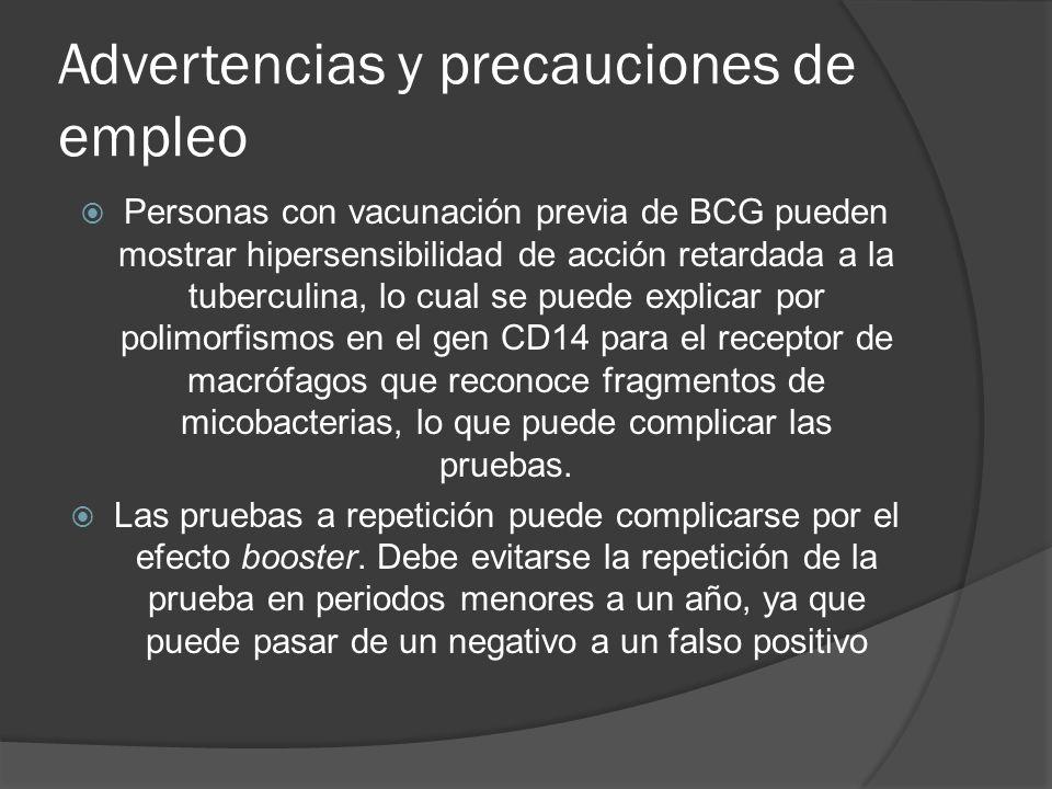 Advertencias y precauciones de empleo Personas con vacunación previa de BCG pueden mostrar hipersensibilidad de acción retardada a la tuberculina, lo