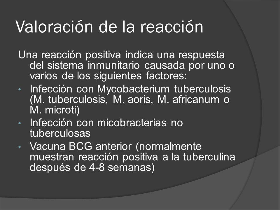Valoración de la reacción Una reacción positiva indica una respuesta del sistema inmunitario causada por uno o varios de los siguientes factores: Infe