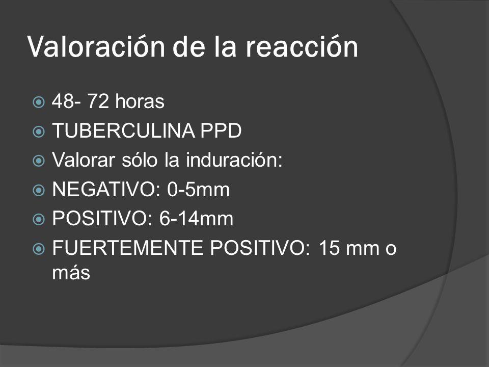 Valoración de la reacción 48- 72 horas TUBERCULINA PPD Valorar sólo la induración: NEGATIVO: 0-5mm POSITIVO: 6-14mm FUERTEMENTE POSITIVO: 15 mm o más