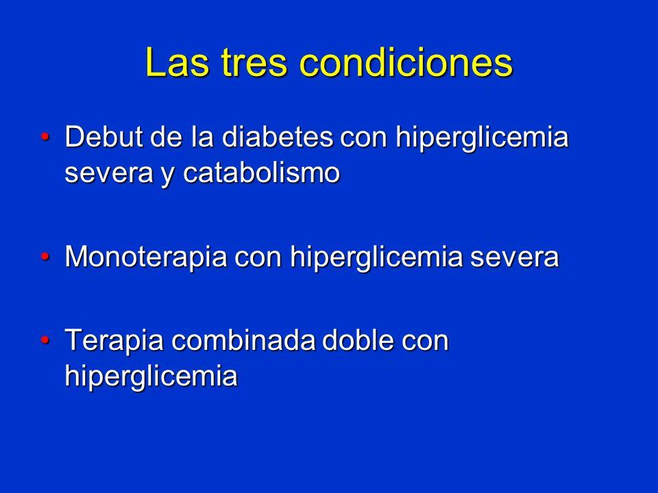 Las tres condiciones Debut de la diabetes con hiperglicemia severa y catabolismoDebut de la diabetes con hiperglicemia severa y catabolismo Monoterapi