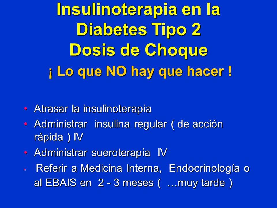 Insulinoterapia en la Diabetes Tipo 2 Dosis de Choque ¡ Lo que NO hay que hacer ! Atrasar la insulinoterapiaAtrasar la insulinoterapia Administrar ins
