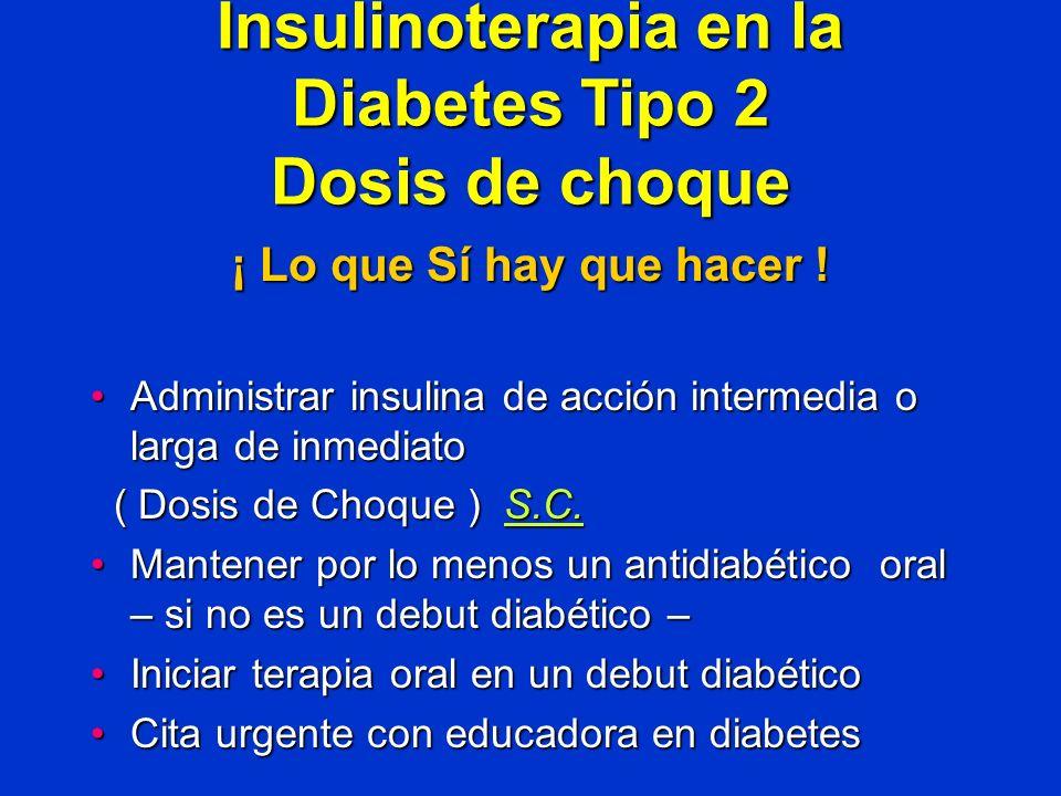 Insulinoterapia en la Diabetes Tipo 2 Dosis de choque ¡ Lo que Sí hay que hacer ! Administrar insulina de acción intermedia o larga de inmediatoAdmini
