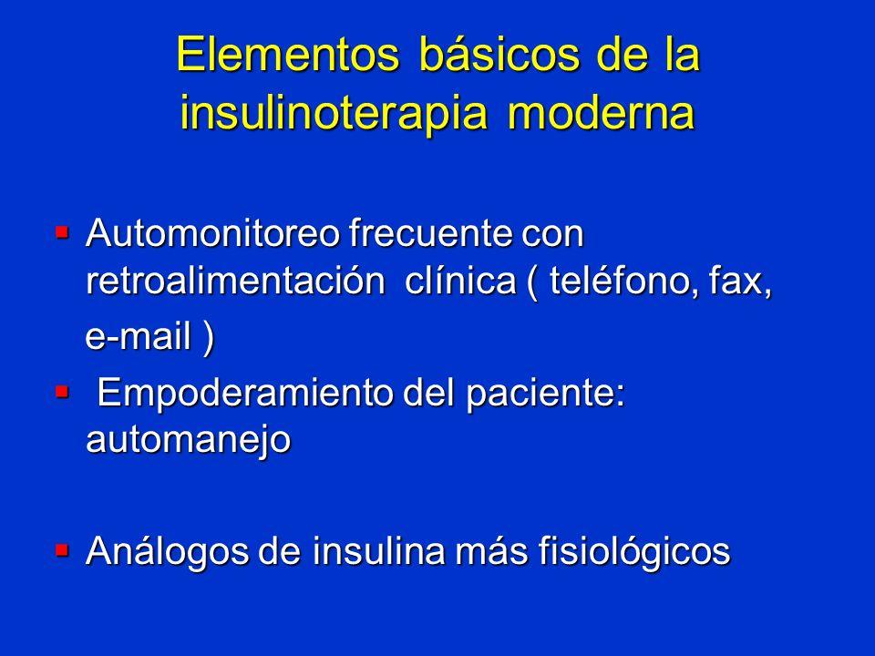 Elementos básicos de la insulinoterapia moderna Automonitoreo frecuente con retroalimentación clínica ( teléfono, fax, Automonitoreo frecuente con ret