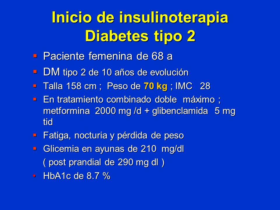 Inicio de insulinoterapia Diabetes tipo 2 Paciente femenina de 68 a Paciente femenina de 68 a DM tipo 2 de 10 años de evolución DM tipo 2 de 10 años d