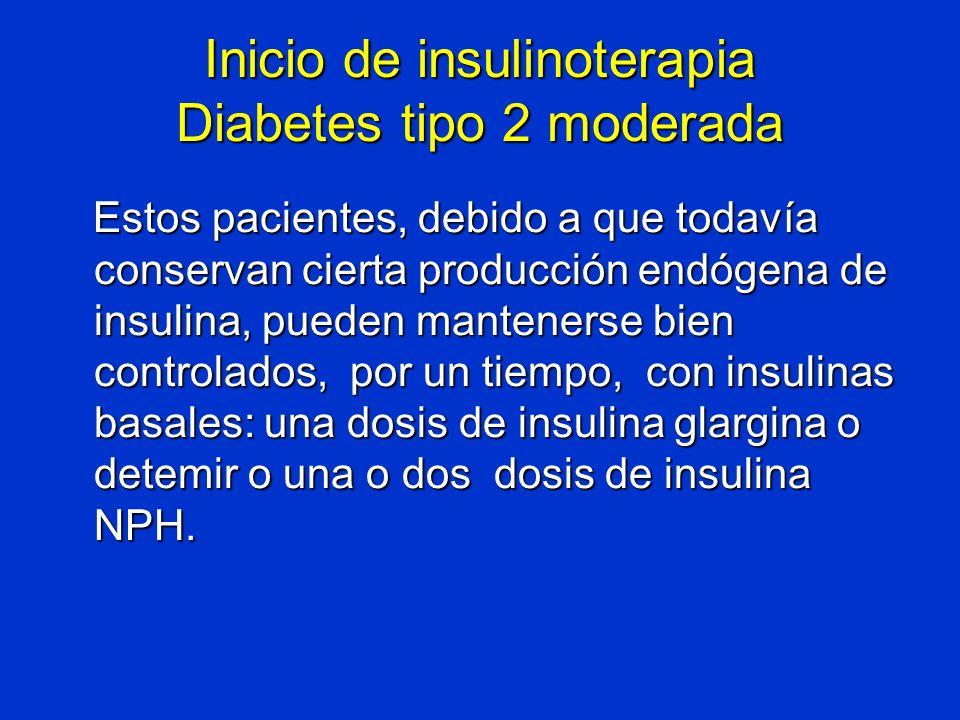 Inicio de insulinoterapia Diabetes tipo 2 moderada Estos pacientes, debido a que todavía conservan cierta producción endógena de insulina, pueden mant