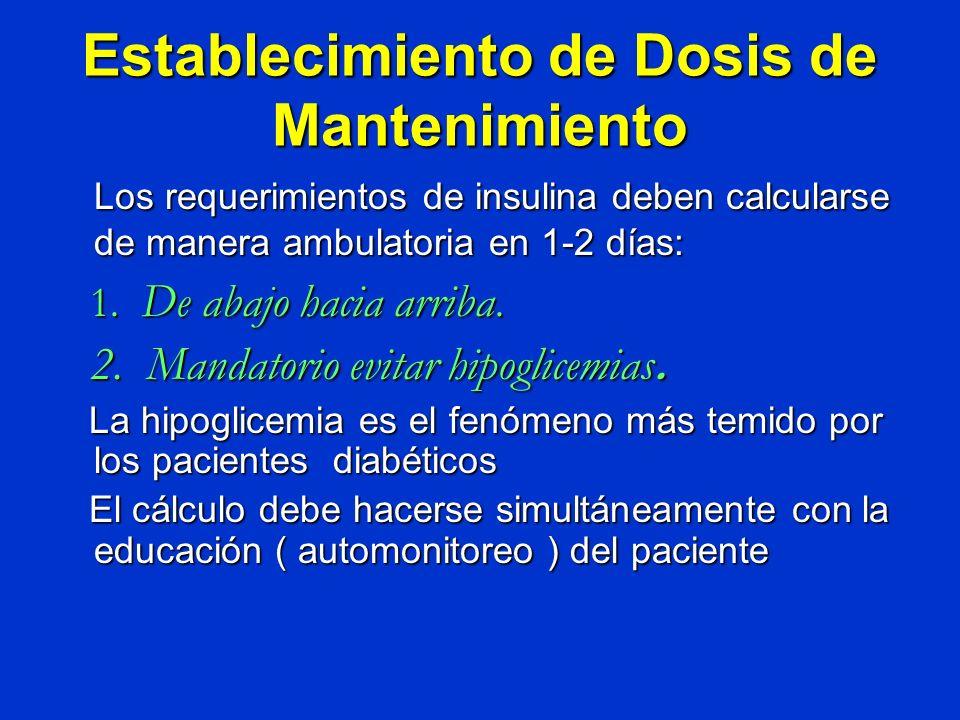 Establecimiento de Dosis de Mantenimiento Los requerimientos de insulina deben calcularse de manera ambulatoria en 1-2 días: 1. De abajo haciaarriba.