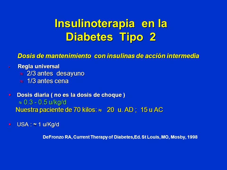 Insulinoterapia en la Diabetes Tipo 2 Dosis de mantenimiento con insulinas de acción intermedia Regla universal Regla universal 2/3 antes desayuno 2/3
