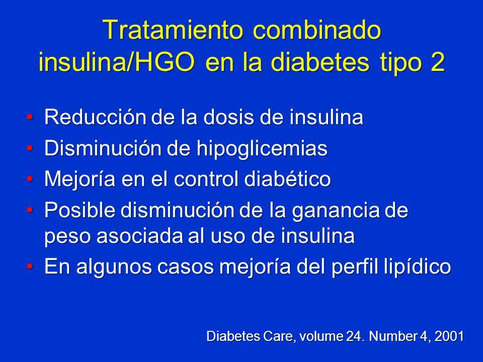 Tratamiento combinado insulina/HGO en la diabetes tipo 2 Reducción de la dosis de insulinaReducción de la dosis de insulina Disminución de hipoglicemi