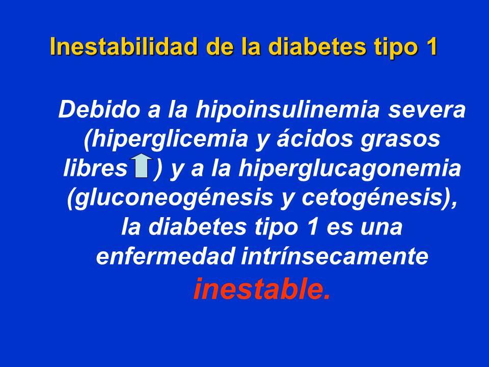 Inestabilidad de la diabetes tipo 1 Debido a la hipoinsulinemia severa (hiperglicemia y ácidos grasos libres ) y a la hiperglucagonemia (gluconeogénes