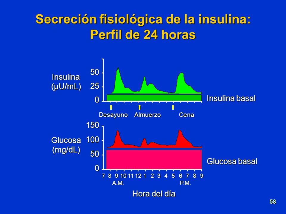 Insulina(µU/mL) Glucosa(mg/dL) Secreción fisiológica de la insulina: Perfil de 24 horas 150 100 50 0 789101112123456789 A.M.P.M. Glucosa basal Hora de