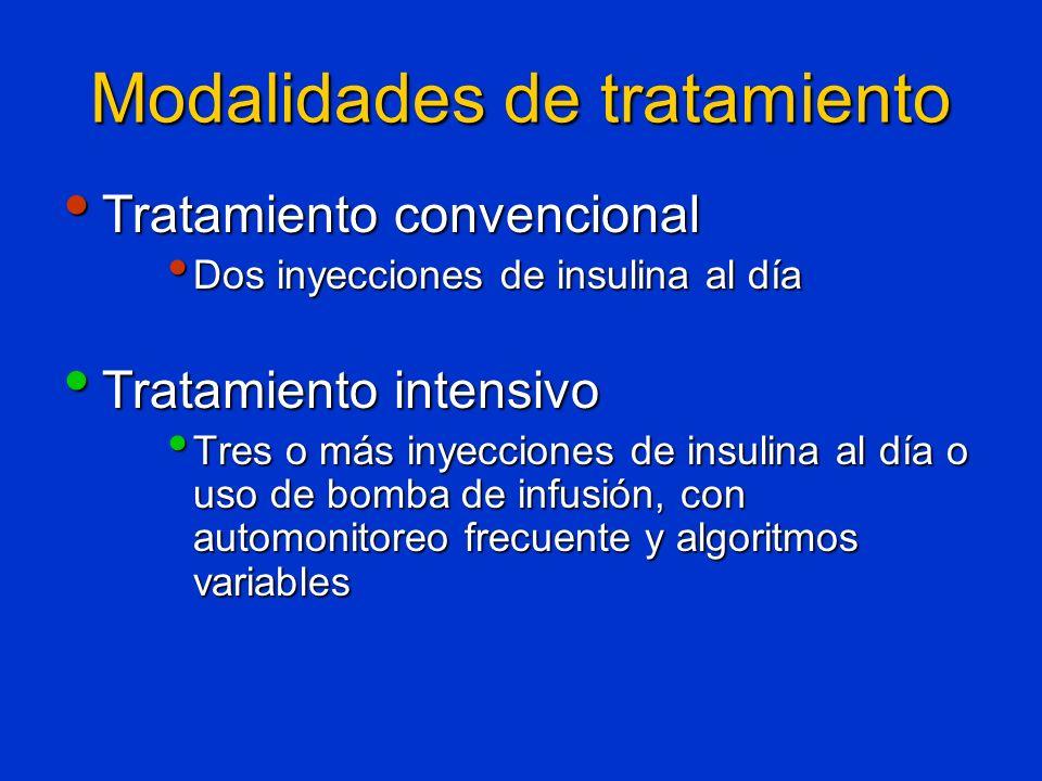Modalidades de tratamiento Tratamiento convencional Tratamiento convencional Dos inyecciones de insulina al día Dos inyecciones de insulina al día Tra