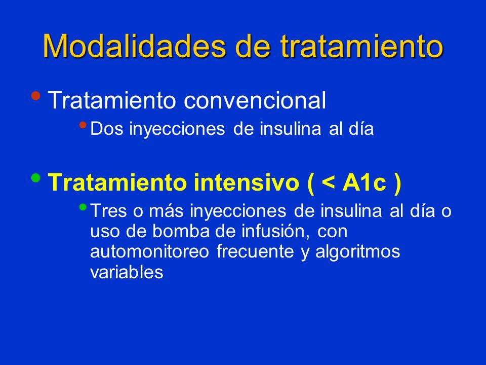 Modalidades de tratamiento Tratamiento convencional Dos inyecciones de insulina al día Tratamiento intensivo ( < A1c ) Tres o más inyecciones de insul