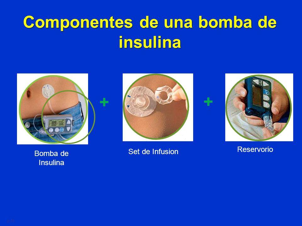 Componentes de una bomba de insulina Bomba de Insulina + Set de Infusion Reservorio + p.76
