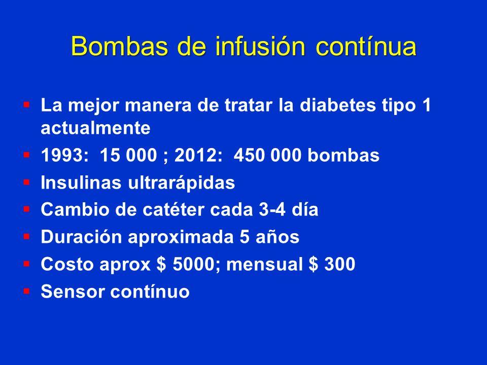 Bombas de infusión contínua La mejor manera de tratar la diabetes tipo 1 actualmente 1993: 15 000 ; 2012: 450 000 bombas Insulinas ultrarápidas Cambio