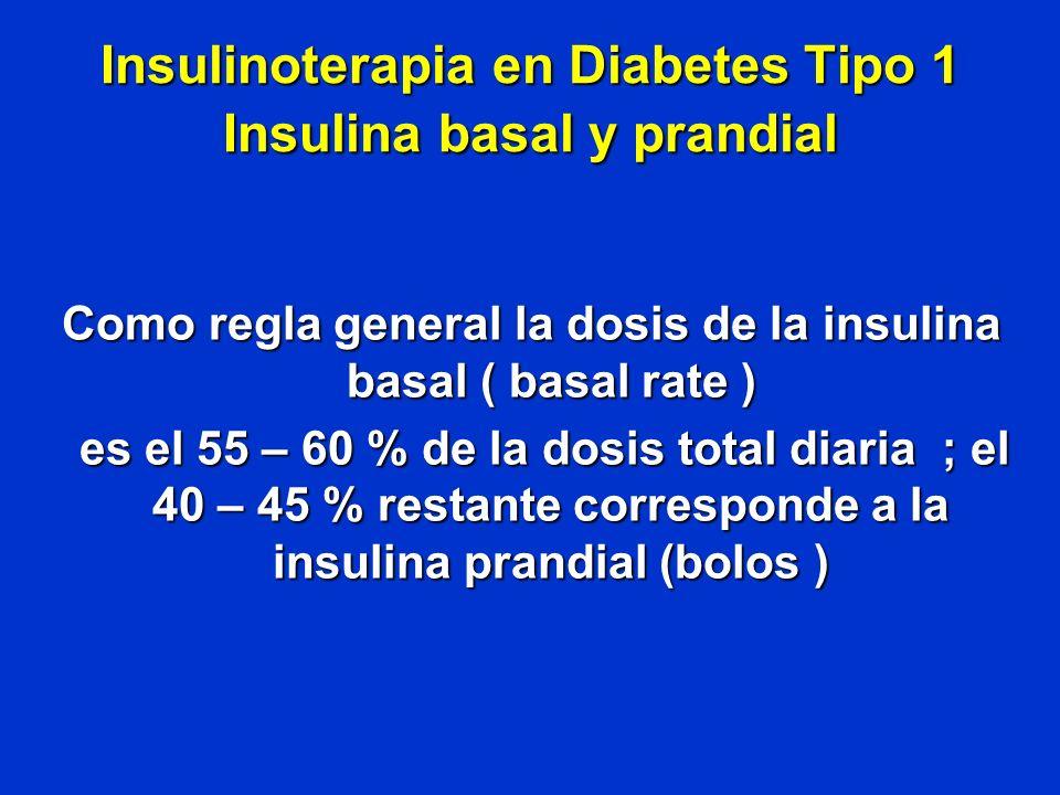 Insulinoterapia en Diabetes Tipo 1 Insulina basal y prandial Como regla general la dosis de la insulina basal ( basal rate ) es el 55 – 60 % de la dos