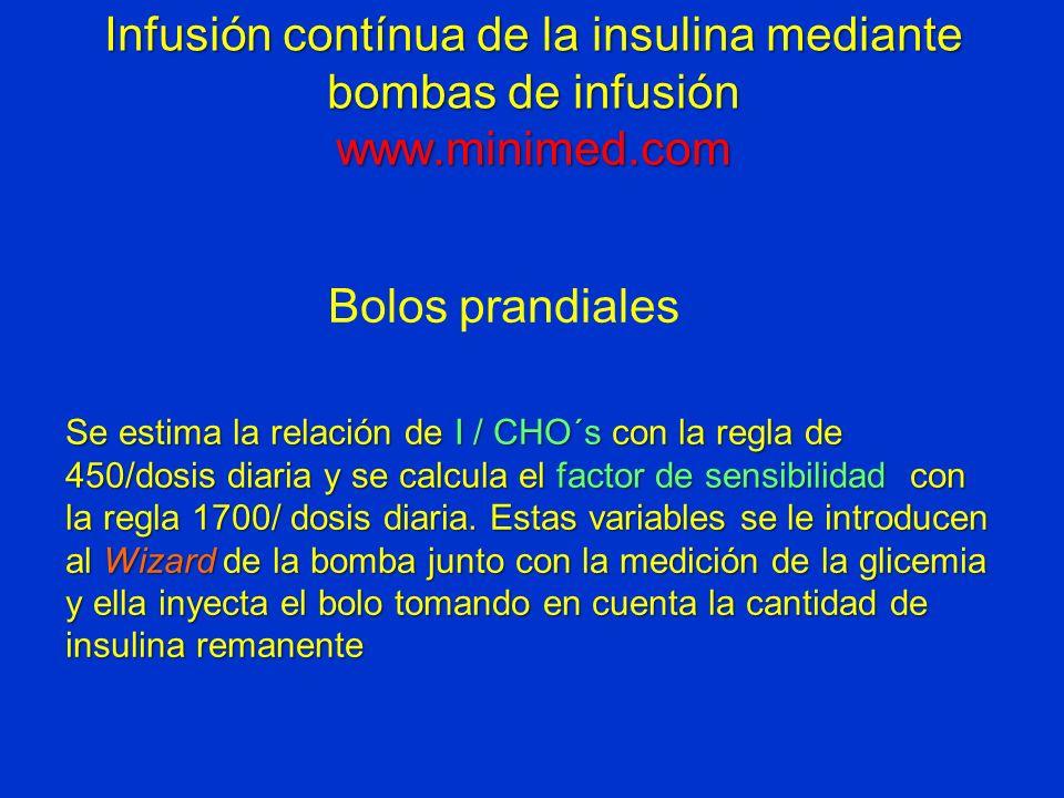 Infusión contínua de la insulina mediante bombas de infusión www.minimed.com Bolos prandiales Se estima la relación de I / CHO´s con la regla de 450/d