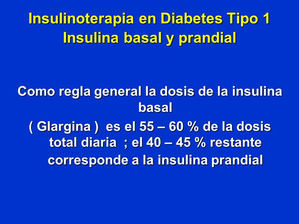Insulinoterapia en Diabetes Tipo 1 Insulina basal y prandial Como regla general la dosis de la insulina basal ( Glargina ) es el 55 – 60 % de la dosis
