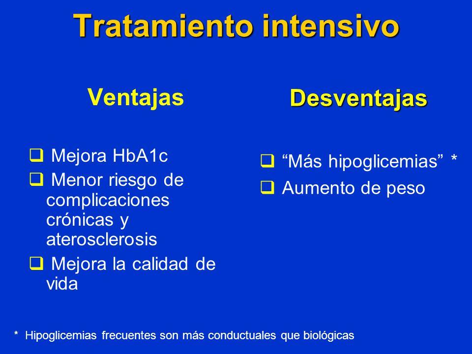 Tratamiento intensivo Ventajas Mejora HbA1c Menor riesgo de complicaciones crónicas y aterosclerosis Mejora la calidad de vida Desventajas Más hipogli