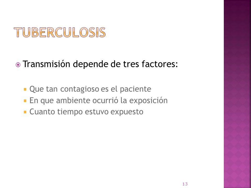 Transmisión depende de tres factores: Que tan contagioso es el paciente En que ambiente ocurrió la exposición Cuanto tiempo estuvo expuesto 13