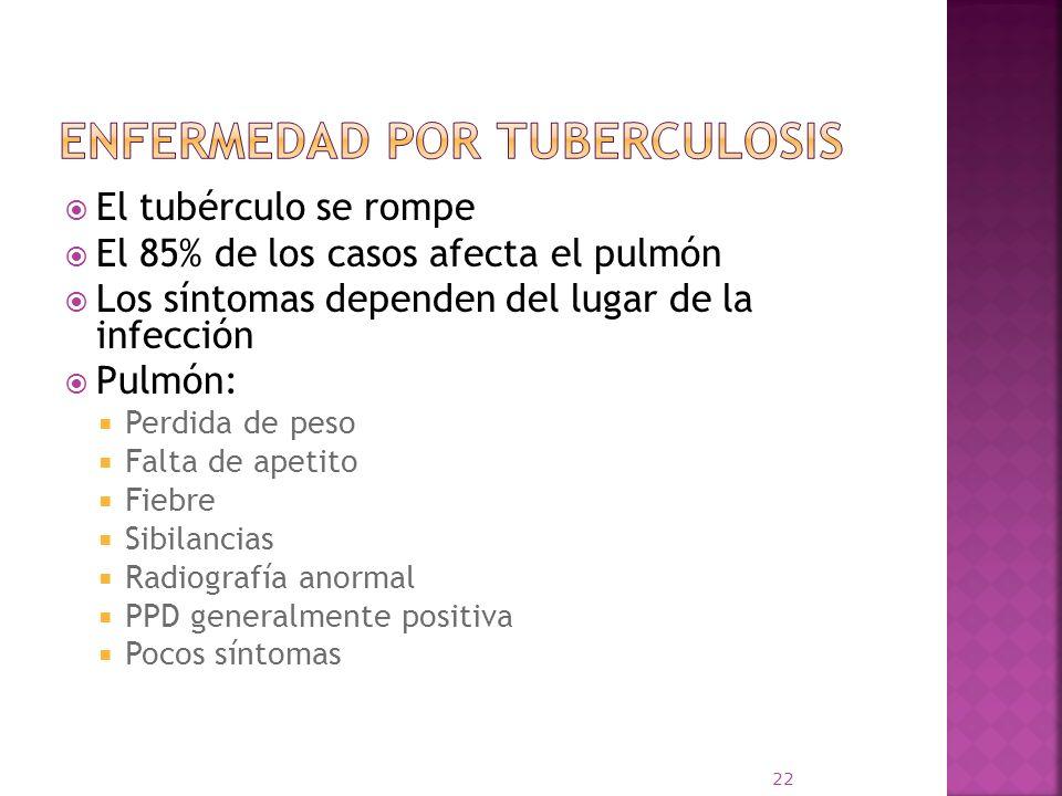 El tubérculo se rompe El 85% de los casos afecta el pulmón Los síntomas dependen del lugar de la infección Pulmón: Perdida de peso Falta de apetito Fi