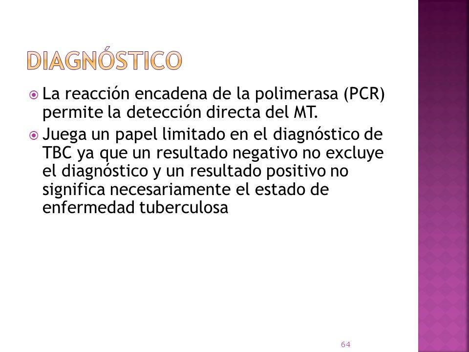 La reacción encadena de la polimerasa (PCR) permite la detección directa del MT. Juega un papel limitado en el diagnóstico de TBC ya que un resultado
