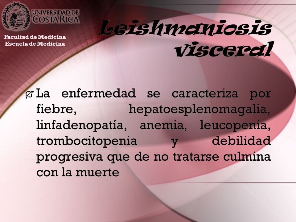 Leishmaniosis visceral La enfermedad se caracteriza por fiebre, hepatoesplenomagalia, linfadenopatía, anemia, leucopenia, trombocitopenia y debilidad