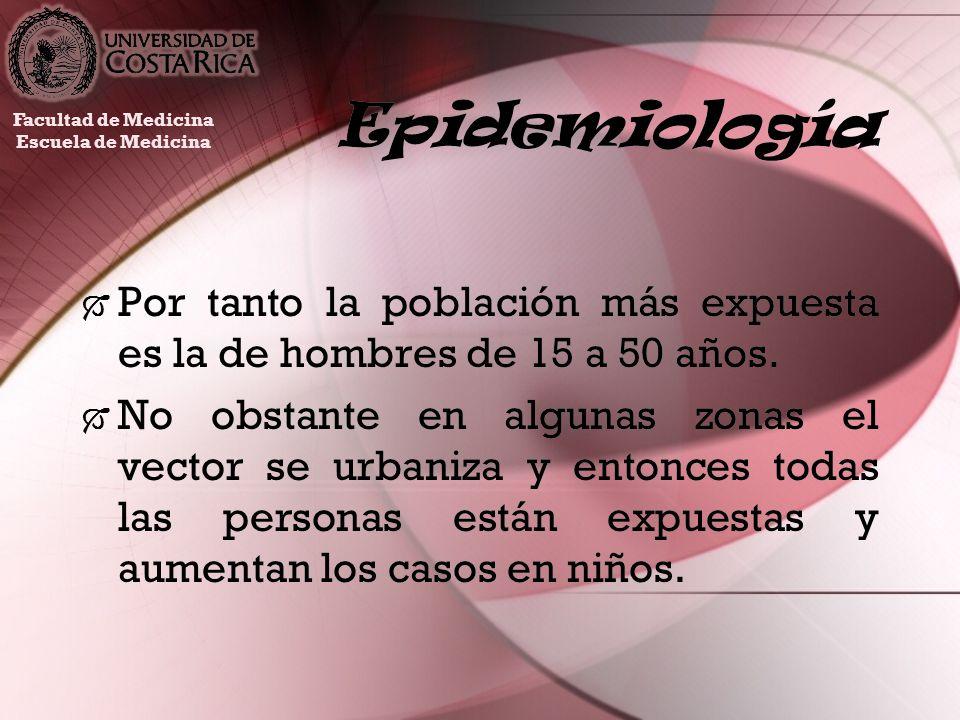Epidemiología Por tanto la población más expuesta es la de hombres de 15 a 50 años. No obstante en algunas zonas el vector se urbaniza y entonces toda