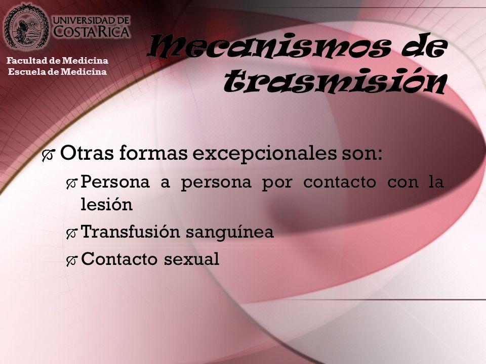 Mecanismos de trasmisión Otras formas excepcionales son: Persona a persona por contacto con la lesión Transfusión sanguínea Contacto sexual Otras form
