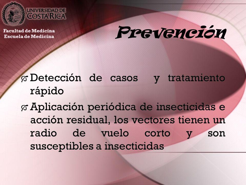 Prevención Detección de casos y tratamiento rápido Aplicación periódica de insecticidas e acción residual, los vectores tienen un radio de vuelo corto