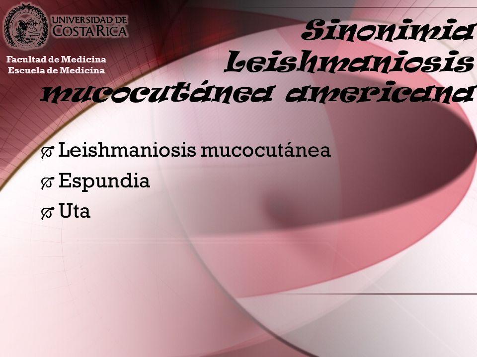 Sinonimia Leishmaniosis mucocutánea americana Leishmaniosis mucocutánea Espundia Uta Leishmaniosis mucocutánea Espundia Uta Facultad de Medicina Escue