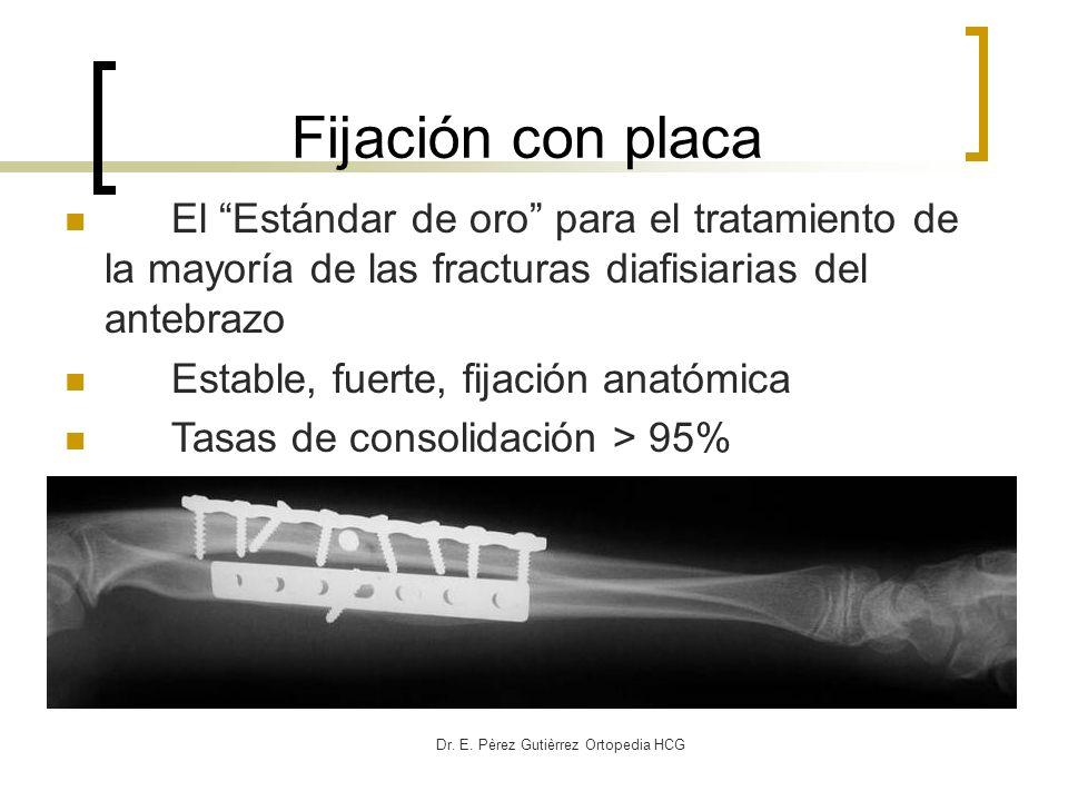 Dr. E. Pèrez Gutièrrez Ortopedia HCG El Estándar de oro para el tratamiento de la mayoría de las fracturas diafisiarias del antebrazo Estable, fuerte,