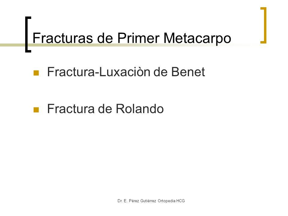 Dr. E. Pèrez Gutièrrez Ortopedia HCG Fracturas de Primer Metacarpo Fractura-Luxaciòn de Benet Fractura de Rolando