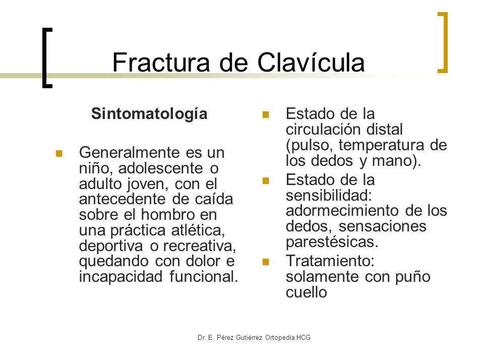 Dr. E. Pèrez Gutièrrez Ortopedia HCG Fractura de Clavícula Sintomatología Generalmente es un niño, adolescente o adulto joven, con el antecedente de c