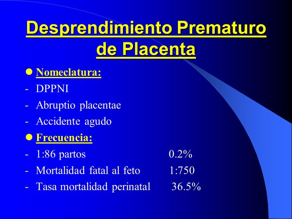 Causas Obst é tricas de Hemorragia III Trimestre Expulsión moco cervical. Desprendimiento prematuro placenta. Placenta previa. Rotura seno marginal. R