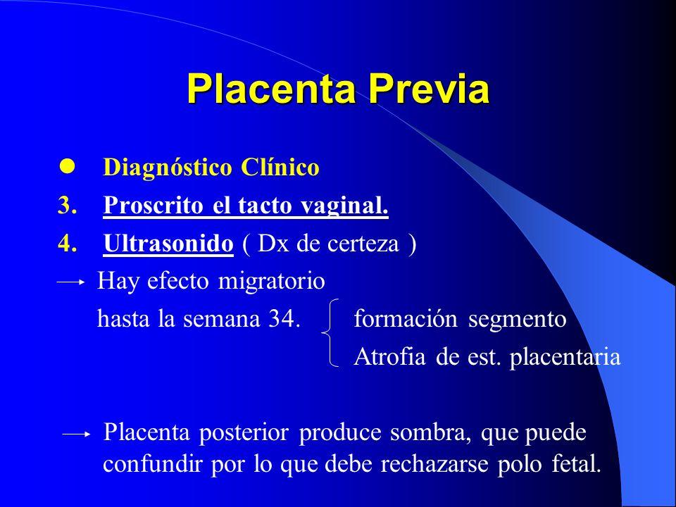 Placenta Previa Diagnóstico Clínico 1.Hemorragia no dolorosa Sangrado líquido rojo rutilante Indolora Se inicia durante sueño* Intermitente Se reprodu