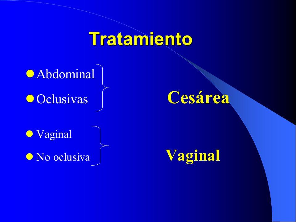 Tratamiento MadreFetoConducta EstableVivo pretérmino Expectante EstableVivo a término Cesárea InestableCualquier condición Cesárea