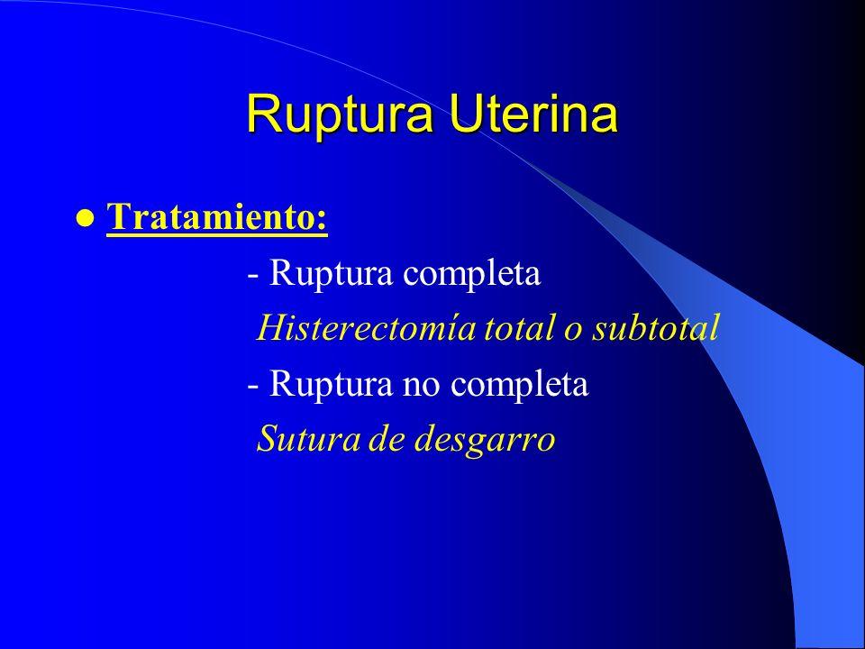 Ruptura Uterina Clínica: - Dolor suprapúbico - Hipersensibilidad - Cese súbito de contracciones - Hemorragia vaginal - Hematuria - Parte fetal palpabl