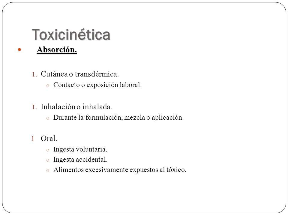 Toxicinética Absorción. Absorción. 1. Cutánea o transdérmica. o Contacto o exposición laboral. 1. Inhalación o inhalada. o Durante la formulación, mez